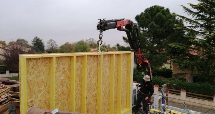 Pose des murs ossature bois